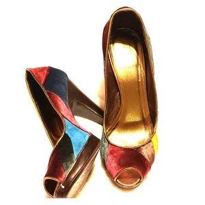 Patchwork coach heels